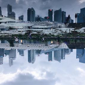 Reflection of Singapore Skyline by Kai Jian - City,  Street & Park  Skylines