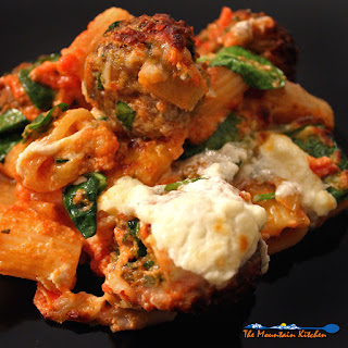Baked Pasta with Meatballs and Spinach.