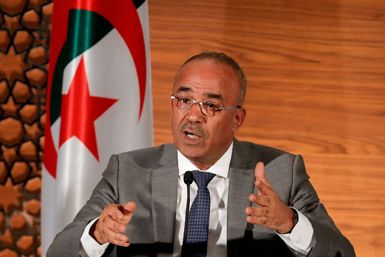 Algerian Prime Minister Noureddine Bedoui at a news conference in Algiers, Algeria, on March 14 2019. Picture: REUTERS/ZOHRA BENSEMRA
