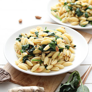 Pasta with Shiitake Pesto and Baby Spinach.