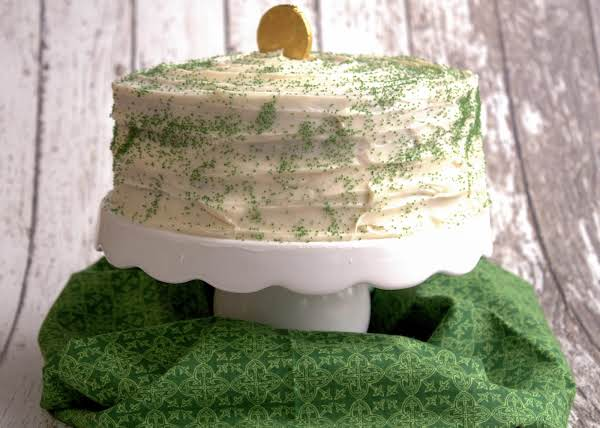 Green Velvet Cake Frosted With Cream Cheese Icing.
