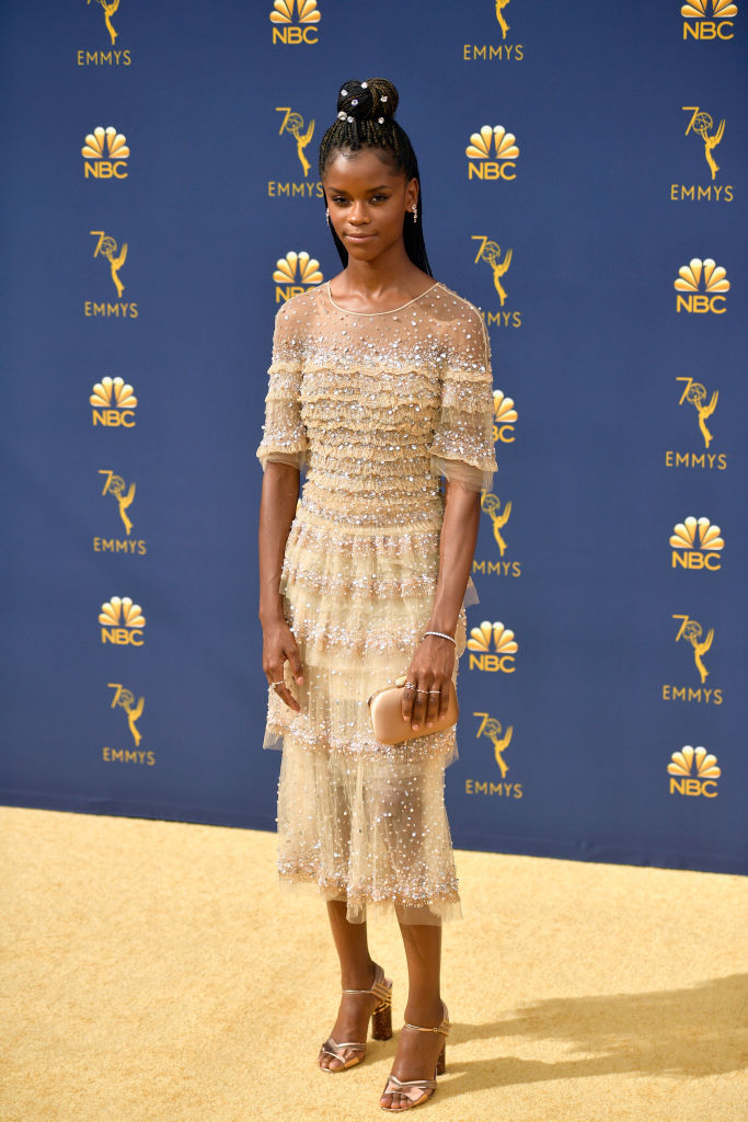 Letitia Wright at the 2018 Emmy Awards.