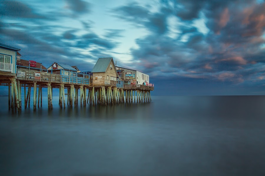 Old Orchard Pier by Ron Phillips - Landscapes Beaches ( sky, pier, long exposure, ocean, beach )