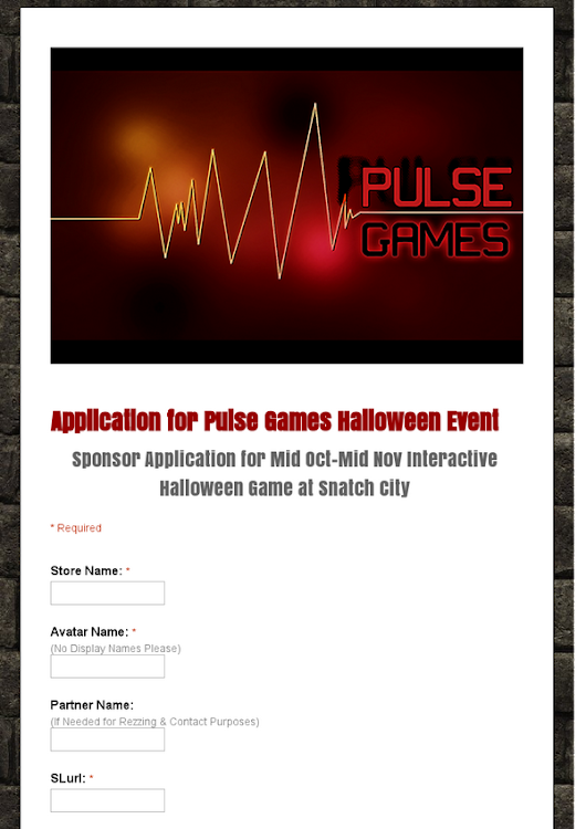 Application for Pulse Games Halloween Event