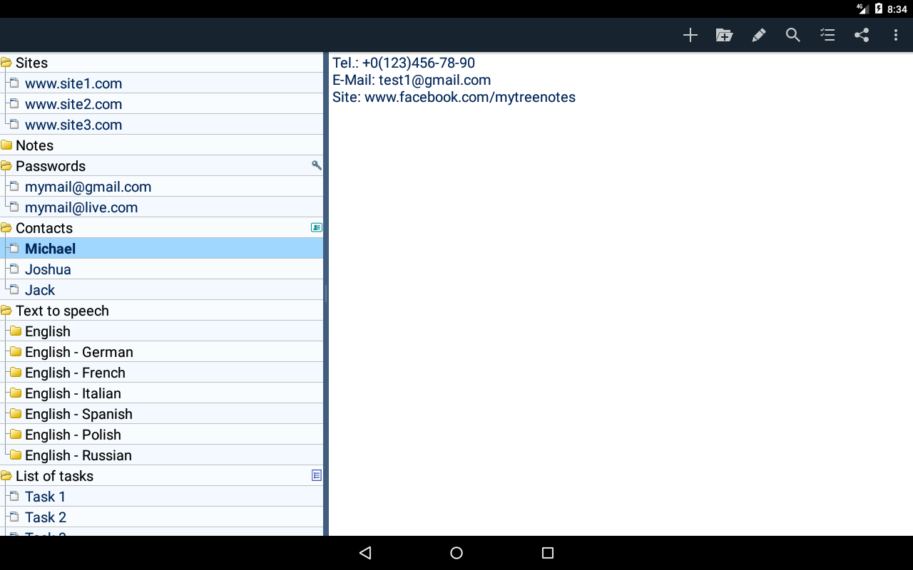 Tree view notepad - MyTreeNotes- screenshot