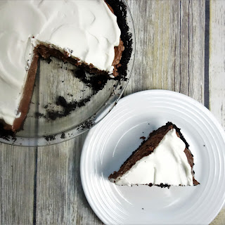 Chocolate Fluff Pie with Oreo Crust.