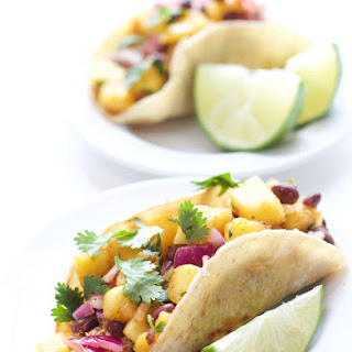 Crock-Pot Ancho Chicken Tacos and Pineapple Mango Bean Salsa