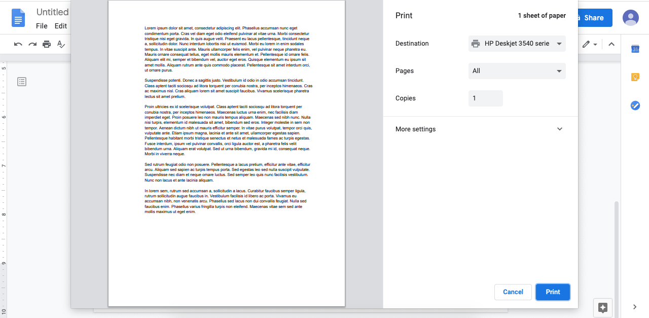 Review and print your Google Doc