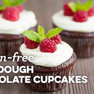 Gluten-free Sourdough Chocolate Cupcakes.