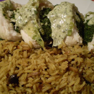 Steamed Spinach Stuffed Fish Rolls.