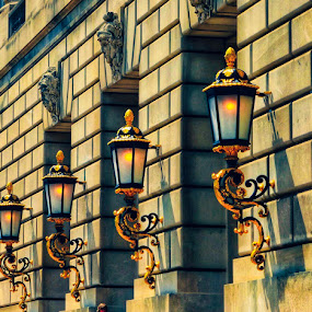 Lights on the wall . by Nelida Dot - Buildings & Architecture Other Exteriors ( light, symmetry, outside, lines, building, architecture,  )