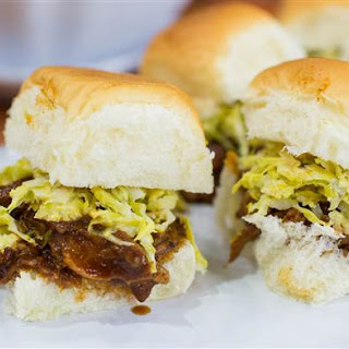 Slow-Cooker Pulled Pork Sliders with Brussels Sprouts Slaw