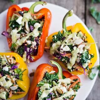 Wild Greens & Quinoa Stuffed Peppers