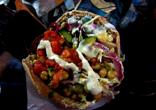 Not sure if you can fit any more toppings into this pita.