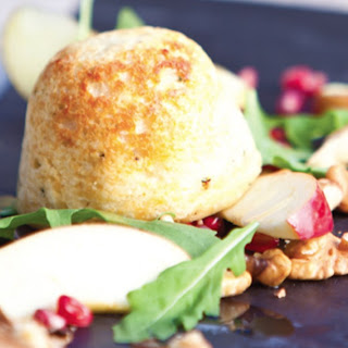 Cheese Soufflés With Apple, Walnut and Pomegranate Salad.