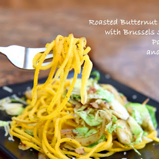 Roasted Butternut Squash with Brussels Sprouts, Parmesan and Pecans
