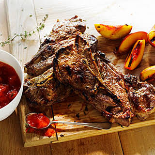 Grilled Lamb Chops with Nectarine Thyme Jam.