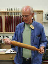 Photo: Paul Mazzi talks about his rolling pin in apricot.