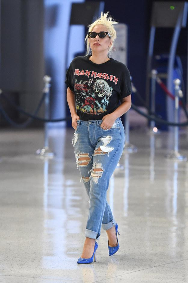 Image result for lady gaga wearing  T-shirt
