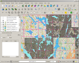Photo: Raster maps created with Karttapullautin in Quantum GIS. Orthoimages and lakes (vector) from the wms server of the National Land Survey of Finland. The 1 km x 1 km and 100 m x 100 m gridlines (red and grey) are those of the Finnish uniform coordinate system (KKJ3).