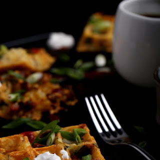 Loaded Baked Potato Hash Brown Waffles.