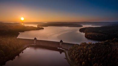 Photo: #Sonnenaufgang an der #Möhnetalsperre  - #Sunrise at Moehne #dam in western #Germany  - #photomaniagermany curated by +Markus Landsmann & +dietmar rogacki & +Nicole Gruber & +Sandra Deichmann & +Photo Mania Germany - #luftbilder #aerialphotography #dji #phantom2visionplus #Sauerland