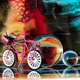 Colorful Life by Liana Lputyan - Artistic Objects Toys ( bicycle, pinkbicycle, colorfullife, glassball, glassballphotography,  )