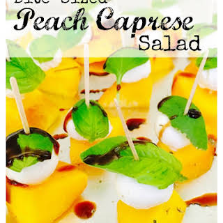 Bite-Sized Peach Caprese Salad.