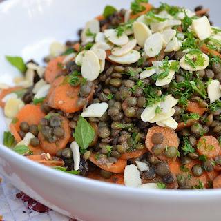 Moroccan Puy Lentil, Carrot + Mint Salad
