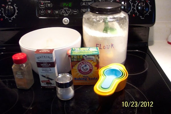 Pre-heat oven to 350. In a medium size bowl sift flour,baking soda,  salt and cinnamon...