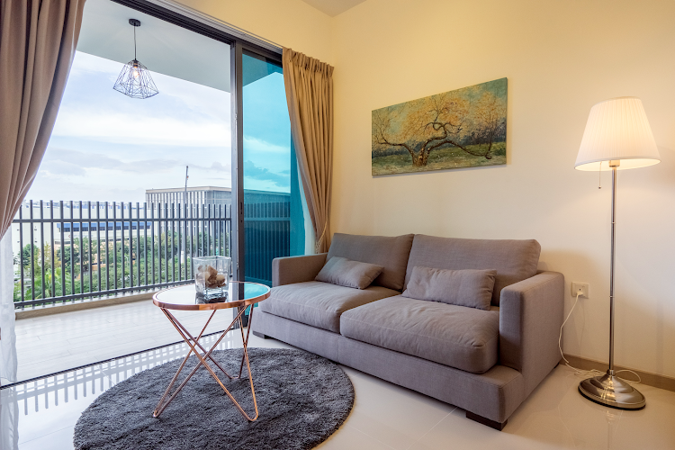 Bright living room at Gateway Drive Residences