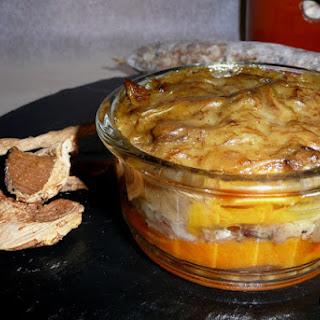 Sweet Potato Timbale with Pot Botifarra and Mushroom Sauce.