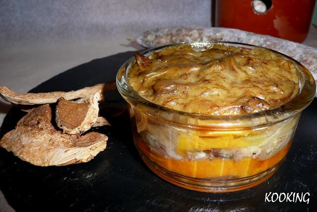 Sweet Potato Timbale with Pot Botifarra and Mushroom Sauce