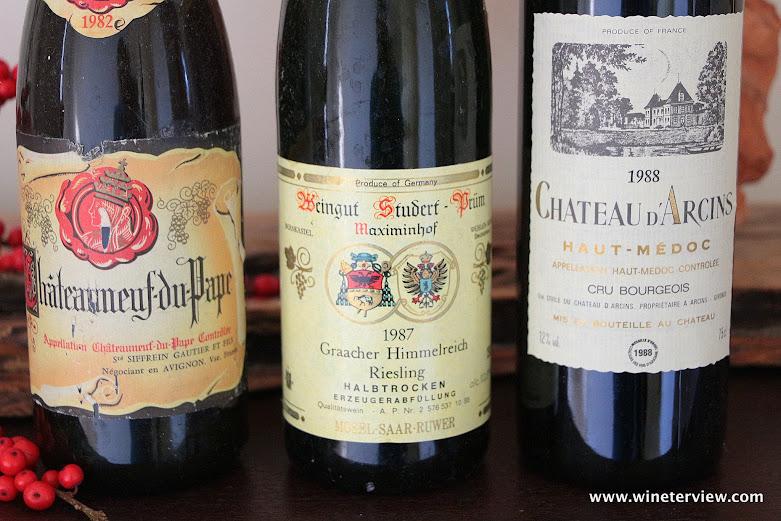 Siffrein Gautier et Fils Châteauneuf Du Pape 1982, Weingut Studert-Prüm Maximinhof Riesling 1987, Chateau d'Arcins Cru Borgeois 1988