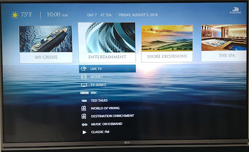 digital-screen-in-stateroom.jpg - Check on your itinerary, restaurant reservations and onboard account on the digital screen in your stateroom on Viking Sun.