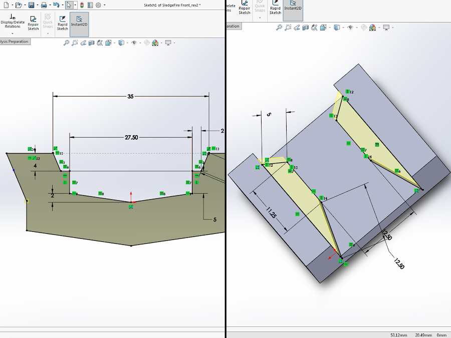 All these dimensions are used to constrain the model into the right shape.