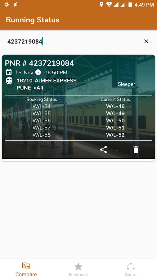 Running Train Status- screenshot