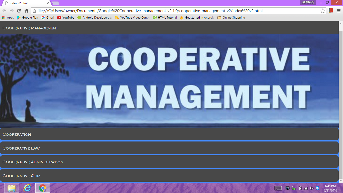 Cooperative Management- screenshot