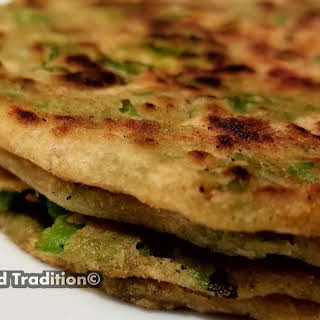 GREEN PEAS PARATHA (INDIAN FLAT BREAD STUFFED WITH PEAS).