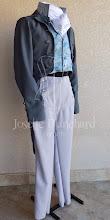 Photo: Trio vestuário masculino Império: Calça, colete e casaca em tons cinza azulado com jabot em viscose.  Site: http://www.josetteblanchard.com/  Facebook: https://www.facebook.com/JosetteBlanchardCorsets/  Email: josetteblanchardcorsets@gmail.com josetteblanchardcorsets@hotmail.com