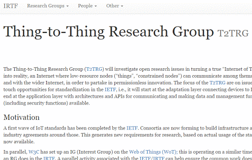 IRTF Thing-to-Thing Research Group (T2TRG) cover image