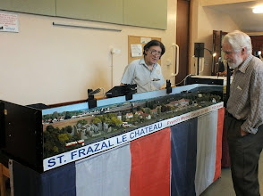 "Photo: 018 Sy Newitt with his St Frazel le Chateau, a splendid model of a French village ""somewhere in rural France"", served by a metre gauge line of the SNCF. Modelled in the tiny Nm scale – 1:160 scale using 6.5mm Z gauge track."