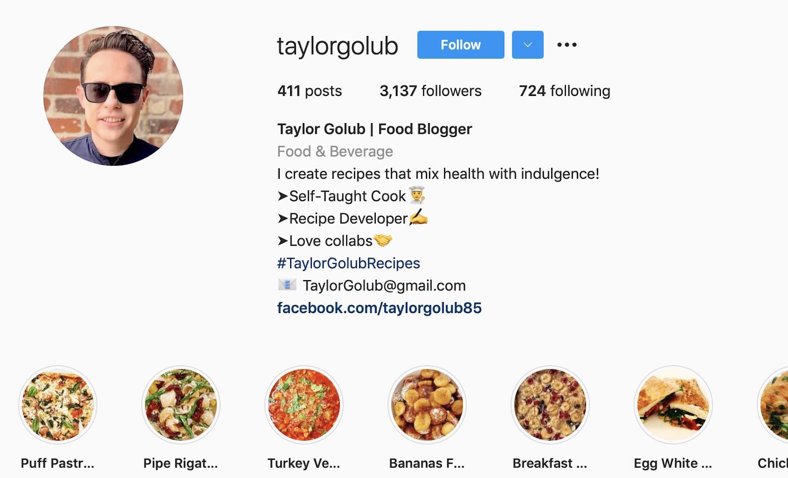 Taylor Golub | Food & Beverage Microinfluencer | Instagram Bio