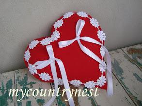 Photo: cuscino porta fedi in cotone rosso