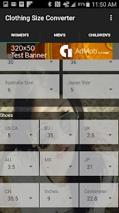Clothing Shoe Size Converter- screenshot thumbnail