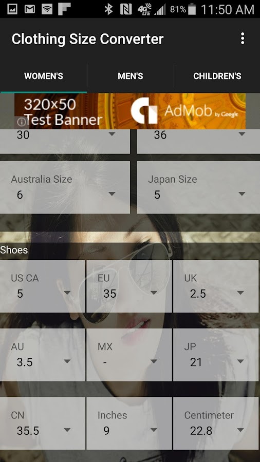 Clothing Shoe Size Converter- screenshot