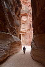 Photo: Near the end of the Siq, you catch a glimpse of the Treasury
