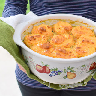 Hearty Chicken Casserole with Sweet Potato Dumplings.