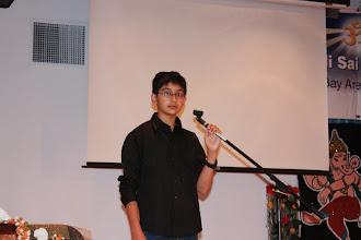 Photo: Nikhil making the Access Braille presentation