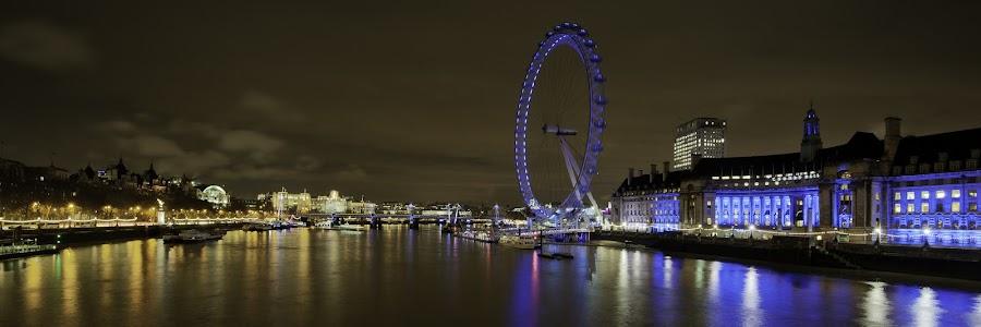 London Eye at night by Christopher William Adach - City,  Street & Park  Vistas ( uk, ligths, st paul, architecture, urban landscape, millenium bridge, london eye, shard, london bridge, thames, london, panoramas, tower bridge, night, westminster, big ben, objects )